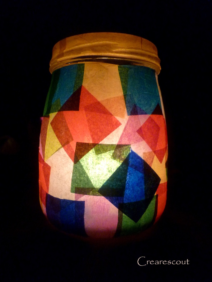 Tissue paper glass lantern! with led lights in my colour scheme