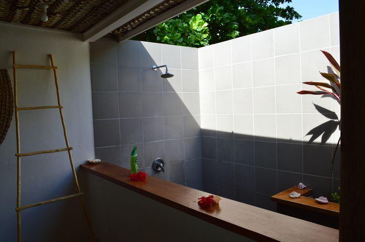 Outdoor shower in our Fiji island Bure