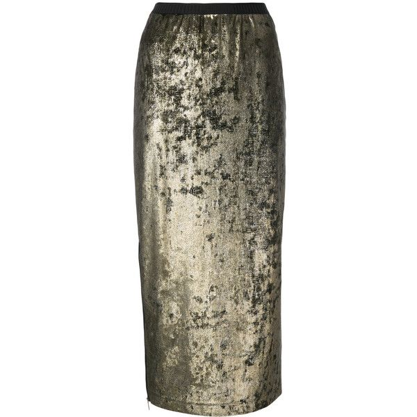 Antonio Marras Metallic Pencil Skirt (1,000 BAM) ❤ liked on Polyvore featuring skirts, metallic pencil skirt, antonio marras, pencil skirt, metallic skirts and brown pencil skirt