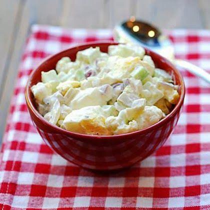 "Cauliflower ""Potato"" Salad I used three boiled eggs, an sf sweet pickles, 1 head of cauliflower"