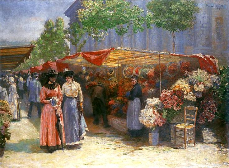 J. Pankiewicz: Targ na kwiaty przed kościołem św. Magdaleny w Paryżu #Paintings #Polish #Art