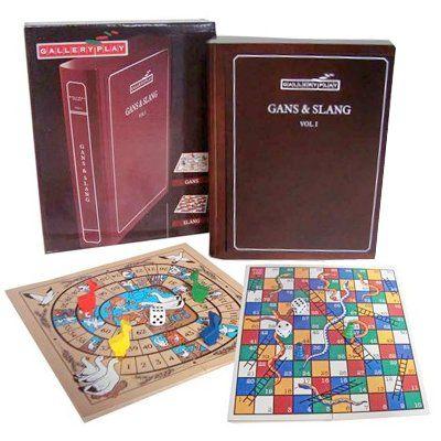Ganzenbord Slangen spel in houten box