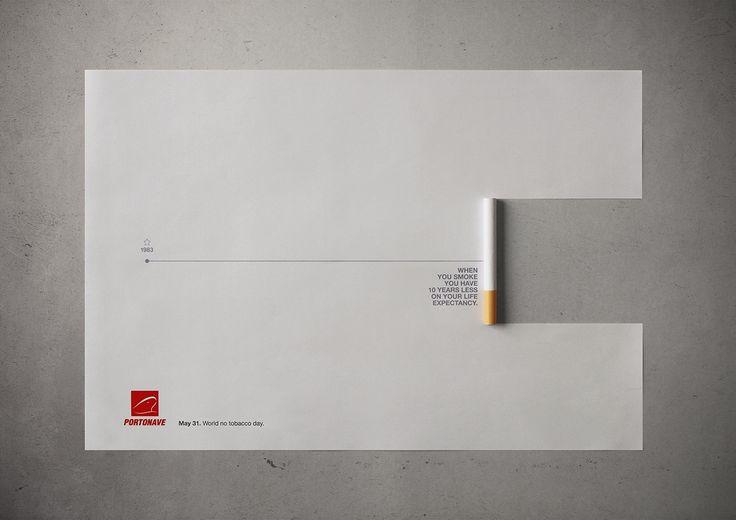 """世界禁煙デーのために作られた、""""切れ味""""の鋭いプリント広告。 ブラジルで実施されたWHO(世界保険機関)が主催する「世界禁煙デー」をクライアントに製作されたプリント広告をご紹介。  毎年5月31日の世界禁煙デーは、禁煙を呼びかける日として世界各地でイベント等が実施されています。この日に合わせて作られた""""タイムライン""""という名のタイトルのクリエイティブがこちら。   寿命を示す一本の線が引かれている紙。その右端から一部が巻かれタバコのかたちをつくっています。  コピーは、""""When you smoke you have 10 years less on your life expectancy.(禁煙はあなたの平均余命を10年短くしてしまいます。)""""  ポスターに少しだけ手を加えることで、立体的にし、より注意を集めるものに仕上げたアイデアポスター"""