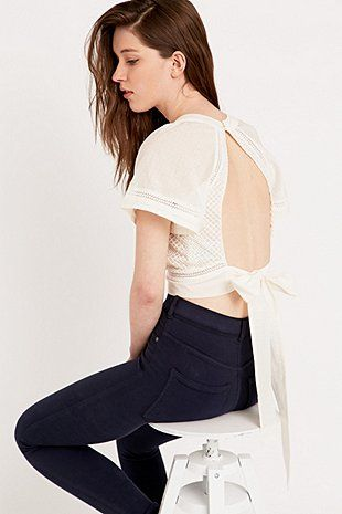 Sessun Elisea Backless Embroidered Blouse - Urban Outfitters
