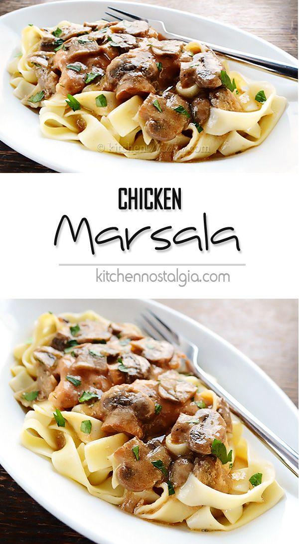 Chicken Marsala - quick Italian weeknight dinner made from chicken, mushrooms, and Marsala wine