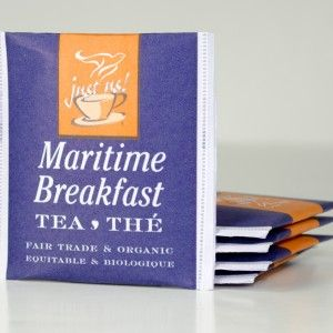 Just Us! Fair Trade & Organic Maritime Breakfast Blend Tea...available in gift baskets at BeenThereGifts.com, an Atlantic Canadian Company