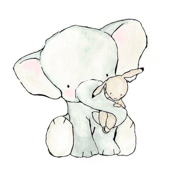 Children's Art Print Elephant Hug  5x7 by trafalgarssquare on Etsy, $10.00