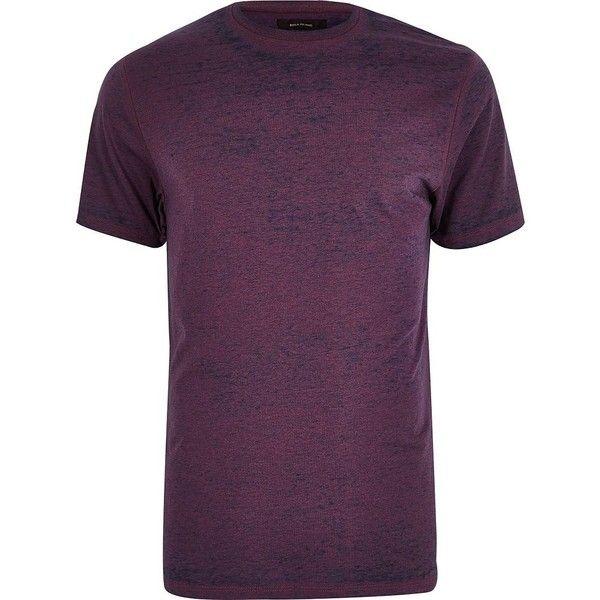 River Island Purple burnout slim fit T-shirt ($19) ❤ liked on Polyvore featuring men's fashion, men's clothing, men's shirts, men's t-shirts, purple, mens cotton shirts, mens slim t shirts, mens tall t shirts, mens slim fit t shirts and mens tall shirts