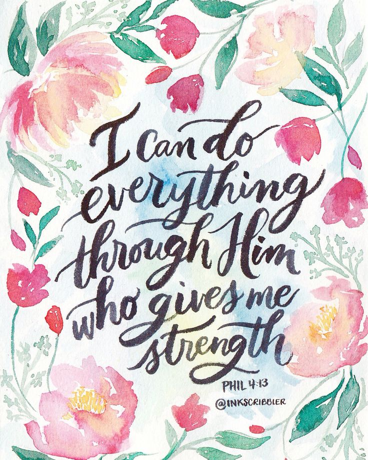 Philippians 4:13 watercolor Peonies, tulips and brush calligraphy bible verse