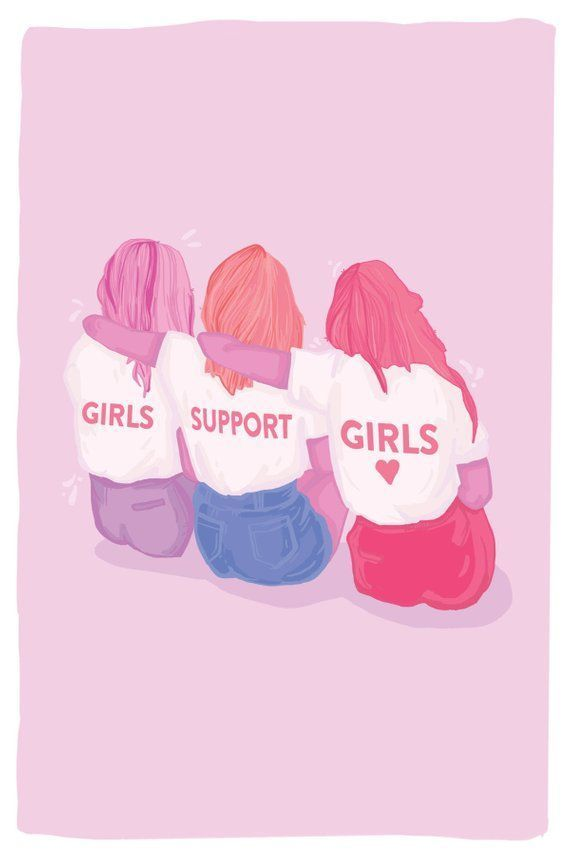Girls Support Girls Postcard Feminist Postcard Feminist Artwork Feminist Holiday Gift Best G Cute Backgrounds Cute Girl Wallpaper Girls Support Girls