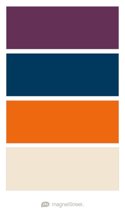 Eggplant, Navy, Orange, and Champagne Wedding Color Palette - custom color palette created at MagnetStreet.com