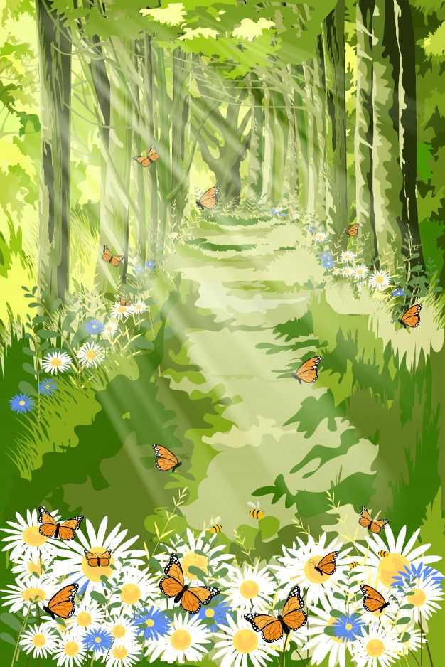 Landscape Of Beautiful Illustration Of Nature With Sun Light Shining In Morning Forest Foliage Fantasy Cartoon Of Green Forest With Butterfly And Bee Flying Ove In 2020 Landscape Daisy Field Illustration