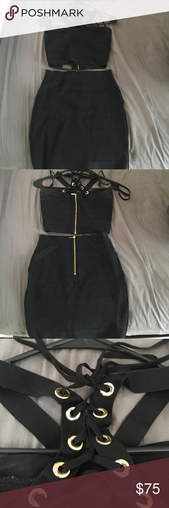 Black/ gold two piece outfit Black and gold two piece outfit... can buy together or separate, size Small bebe Other