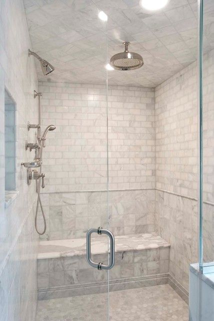 Acid washed marble shower tile - Can you imagine showering in this!!! Get the look with similar products from Schots Home Emporium: https://www.schots.com.au/tiles-parquetry/floor-tiles/30-5cm-varenna-marble-4pc-mosaic-tile-grey-kaitv150gr.html https://www.schots.com.au/tiles-parquetry/floor-tiles/30-5cm-varenna-marble-9pc-mosaic-tile-grey-kaitv98gr.html