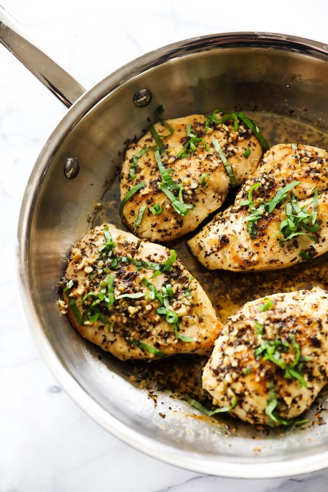 This Skillet Butter Lemon Herb Chicken is loaded with a delicious butter garlic herb flavor and so simple to make. The chicken is so tender and juicy. This meal is a new family favorite!