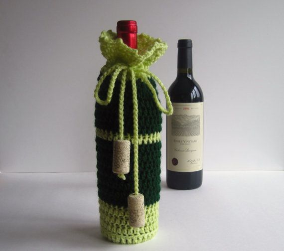 Wine Cozy - Crochet Wine Bottle Covers Sacks Gift Bags - Green and Lime Yellow with Cork Tassels    If you like to bring wine with you when you're