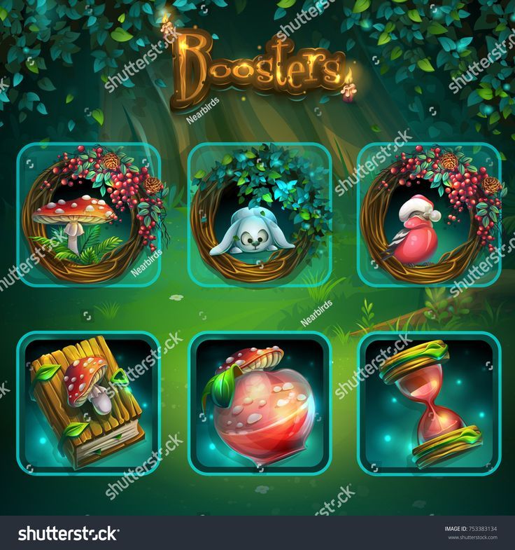 Set of different items for game user interface. Vector background illustration screen to the computer game Shadowy forest GUI. Background image to create original video or web games