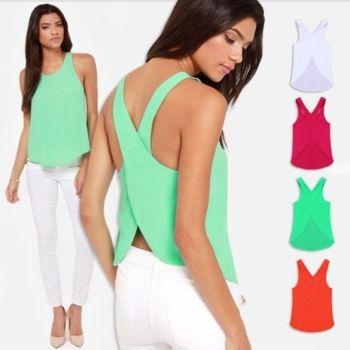 Blusa Dama De La Moda Verano Camisas De Gasa Sexy Back Tirantes Nueva Mujer Chaleco Camiseta
