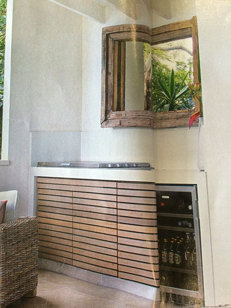 BBQ area with timber doors and simple tiles and bench top. Fridge/cooler with & 65 best BBQ area ideas images on Pinterest | Backyard patio ...