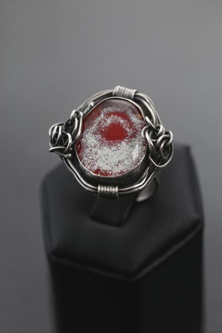 BAROCCO RED – srebrny pierścionek | Sztuk Kilka | silver + glass ring