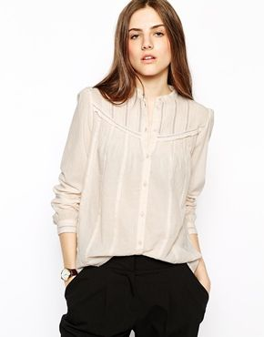 Vanessa Bruno Athe Blouse with Broderie and Pintuck Detail