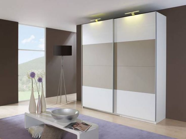 a crisp Alpine White carcase with a complimenting High Gloss Sandy Grey centre panelling on each door - fads.co.uk - hallway