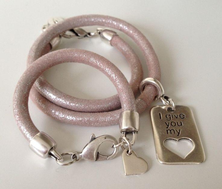Moeder en Dochter Armbanden Set Leer - Pink Silver
