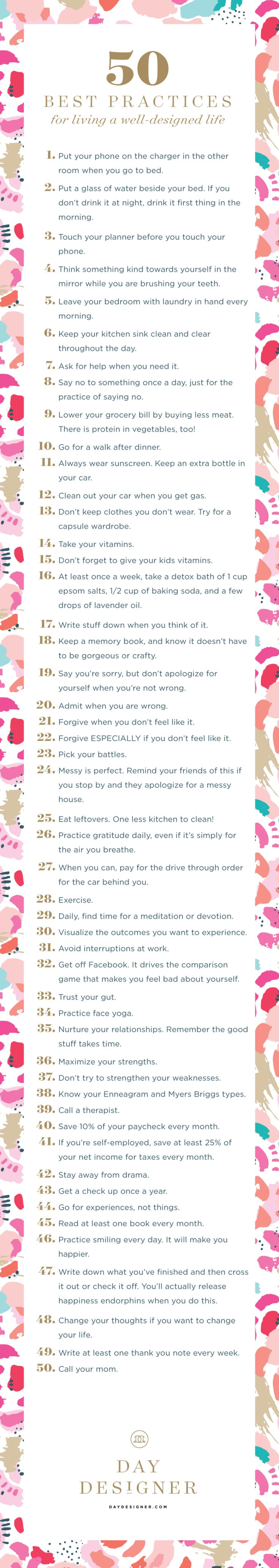 50 Best Practices for living a Well-Designed Life | Day Designer