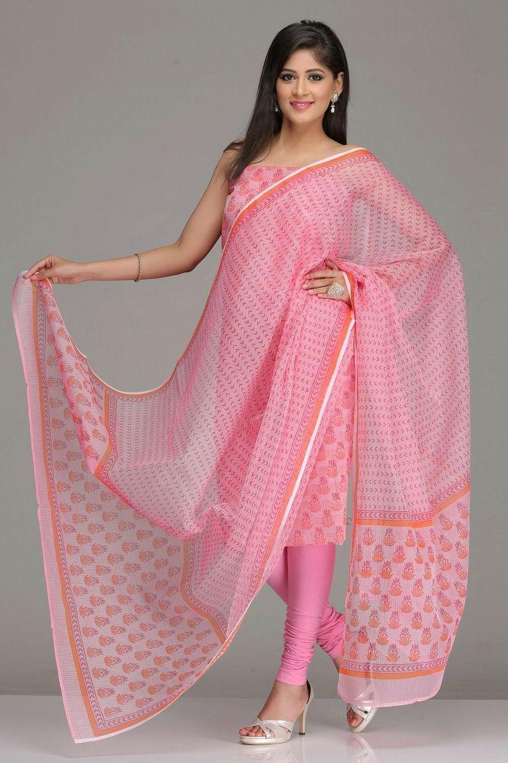 Pink Unstitched Kota Kurta & Dupatta Set With Dark Pink And Orange Hand-Block Printed Floral Motifs