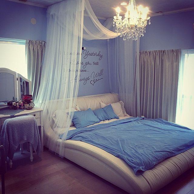 Satsukiさんの、Bedroom,照明,IKEA,雑貨,アンティーク,寝室,DIY,レトロ,カフェ風,北欧,ドライフラワー,ニトリ,セリア,モノトーン,ステンシル,ヨーロッパ アンティーク,ヨーロッパ風についての部屋写真