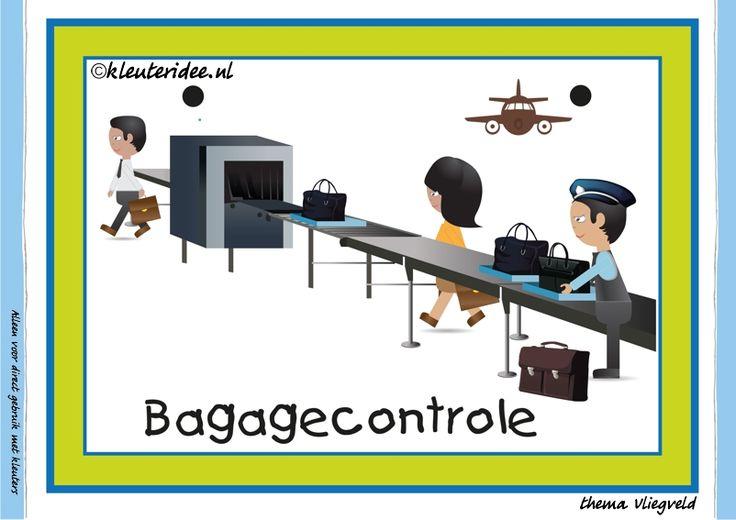 Themahoek 1 bagagecontrole bij thema vliegveld voor kleuters, juf Petra van kleuteridee, free printable.