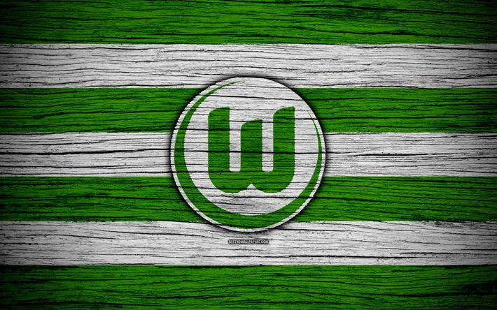Download wallpapers Wolfsburg, 4k, Bundesliga, logo, Germany, wooden texture, FC Wolfsburg, soccer, football, Wolfsburg FC
