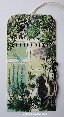 Тэг ручной работы в технике скрапбукинг зеленого цвета