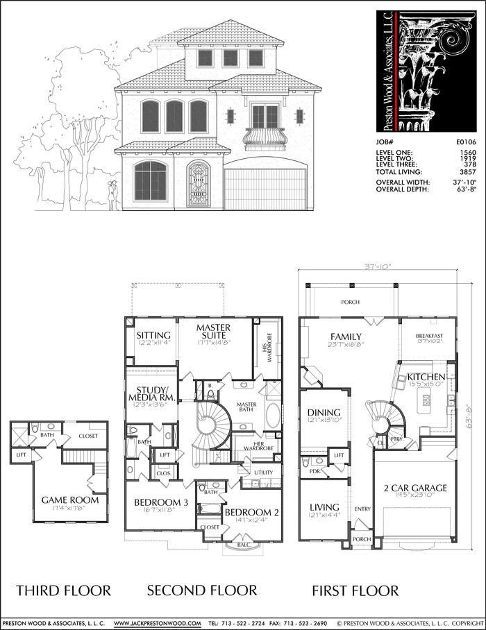 2 1 2 Story Urban House Plan E0106 Two Story House Plans House Plans House Blueprints