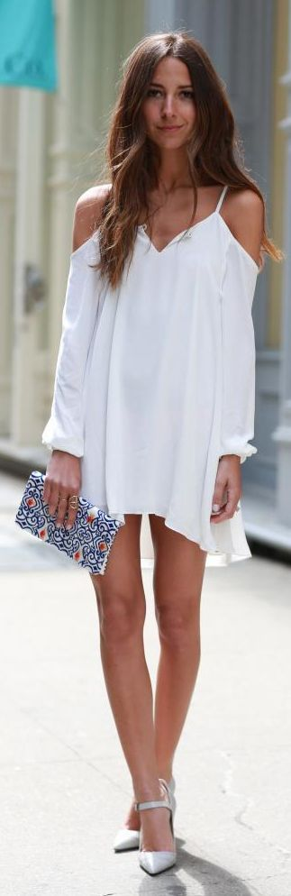 Lovers + friends White Cold Shoulder Strappy Gracie Dress