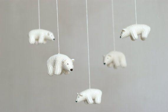 kwekerij mobiele, baby mobiel, ijsbeer mobiel, mobiele, wit gemaakt op bestelling