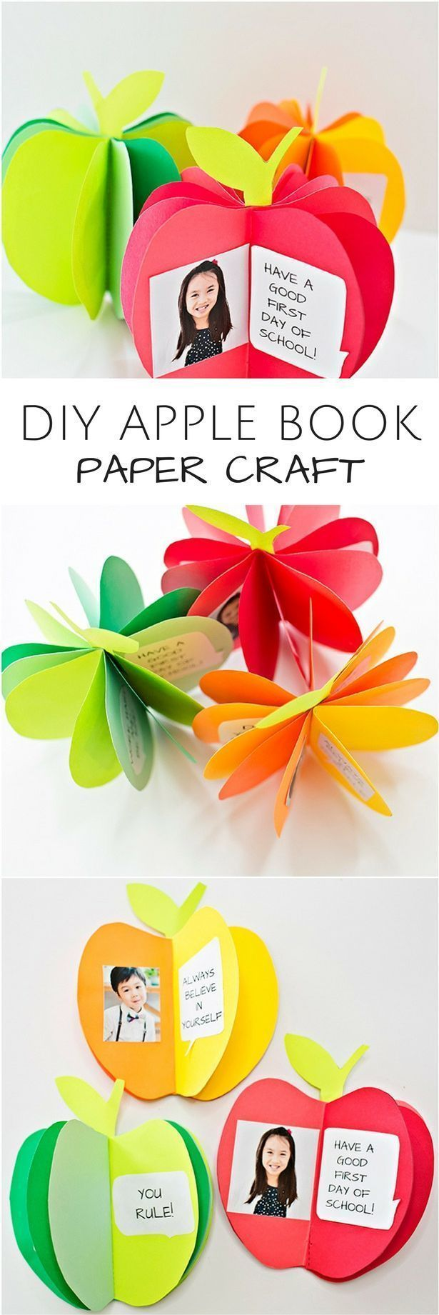 DIY 3D Apple Book Paper Craft. Cute back to school craft for kids or fall autumn art project. Free printable templates included. #fallcraftsforkids