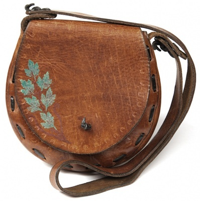 Tan Leather Satchel W/ Painted Leaf Design - Vintage clothing from Rokit