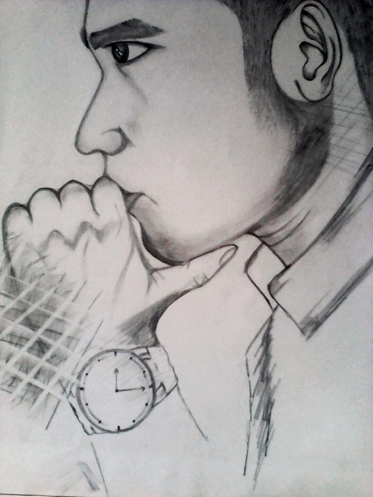 sketch by lilu binti saif    objek : Firman (pemenang model terbik)