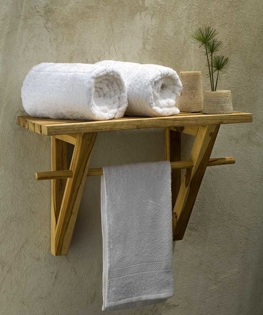 Spa Shelf Farmed Teak Hand Doweled 23Wx12Dx16 inch H w Eco Friendly Teak Oil Fin craftsman-towel-bars-and-hooks