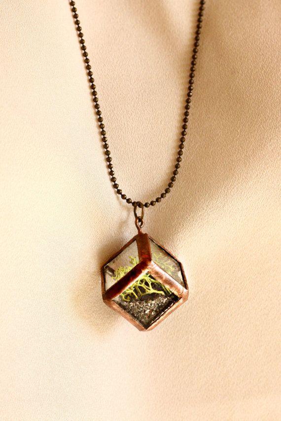 Mini Cube Moss Terrarium Necklace with 30 Brass by TheLandofSalt