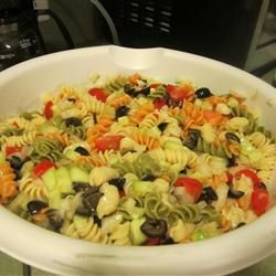 Super Easy Cold Pasta Salad!! Great for brunch, luncheons, or whatever. Easy and quick to make. I find that this salad is always popular at get-togethers and usually disappears rather quickly...