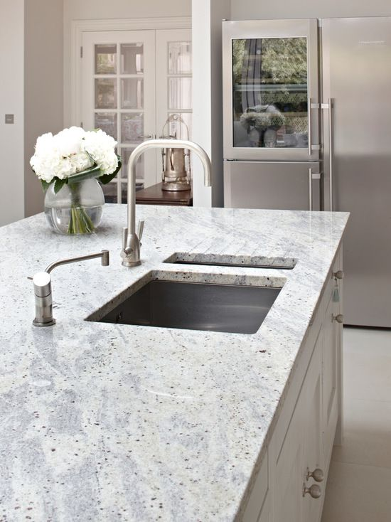 Surrey Country Kitchen Island. Kashmir White Granite Worktop With  Integrated Sink And Drainer.