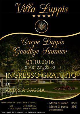 Goodbye Summer!!! 1o. Ottobre 2016, Hotel Villa Luppis. Dj Andrea Gaggia. Prenotazioni: 0434626969