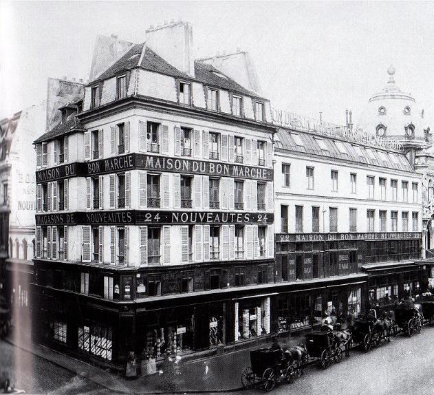 Le premier grand magasin: Au Bon Marché photo de1875. Temple de la mode Belle Epoque.