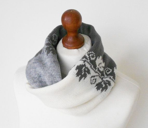 Black White Grey Knit Cowl Wool Cowl Tube by GlovesAndMittens
