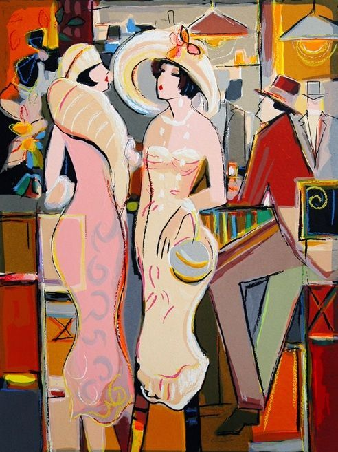 Isaac Maimon Paintings | Dames Elegantes By Isaac Maimon