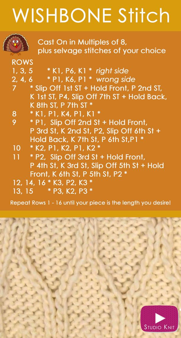 How to Knit the WISHBONE Stitch Pattern | Free Cable Knitting Stitch for Thanksgiving with Studio Knit via @StudioKnit