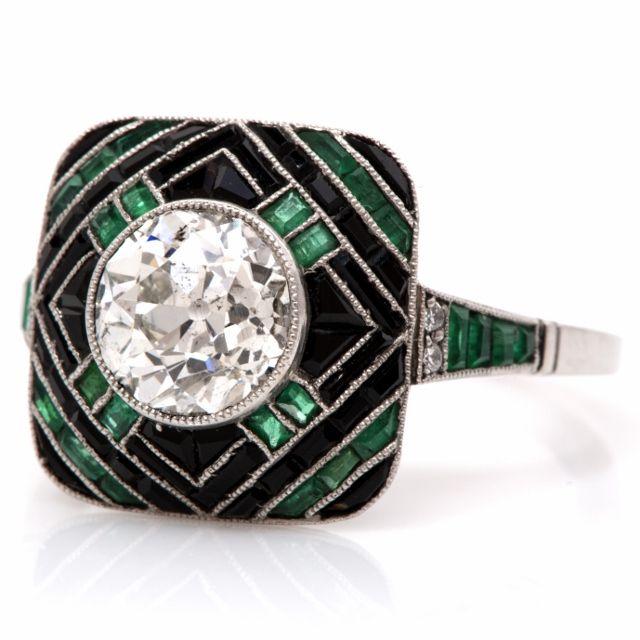 Antique Art Deco 2.60cts Diamond Emerald Onyx Platinum Engagement Ring