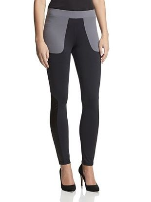 77% OFF David Lerner Women's Legging with Embossed Leather Trim (Black/Grey)